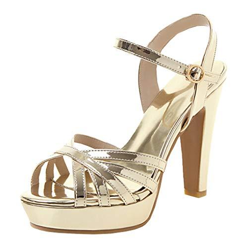 Femany Damen Peeptoe High Heels Sandalen Plateau Sandaletten mit Blockabsatz und Riemchen 11cm Absatz Schuhe (Gold,36)