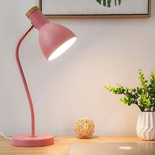 Nordic eenvoudige instelbare LED-tafellamp, knoop-/verduisterende oogbescherming bureaulamp, zwart/wit/roze/groene decoratielamp, nachtkastje/slaapkamer-draaibare leeslamp.