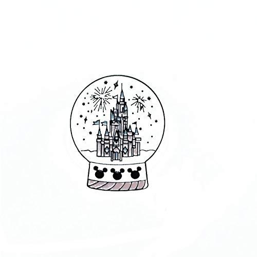 ZSCZQ Castillo Bola de Cristal Broche de Metal esmaltado Juego Creativo Parque Fuegos Artificiales Insignia Pin Divertido Moda niños joyería de Disfraz Regalo
