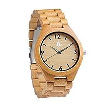 Treehut Men's Bamboo Wooden Watch with Zebrawood Wood Strap Quartz Analog wit.