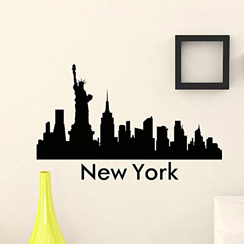 hetingyue Wandaufkleber Vinyl kunstwand New York Skyline Silhouette wandtattoo Dekoration 63x30cm