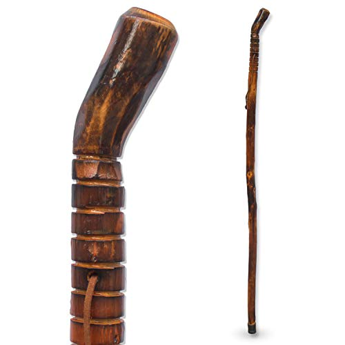RMS Natural Wood Walking Stick - 55 Inch Handcrafted Wooden Hiking Stick and Trekking Pole with Wrist Strap - Ideal for Men or Women with Active Outdoor Lifestyle (Grooved Handle, 55 Inch)