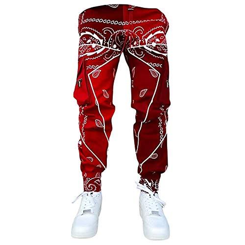 Pantalones Harem de Camuflaje para Hombre Pantalones Casuales Hombres Sueltos de Cargo con Bolsillos Pantalones Deportivos de Baile Hip Hop Punk de Hombre S-5XL(Rojo,5XL)