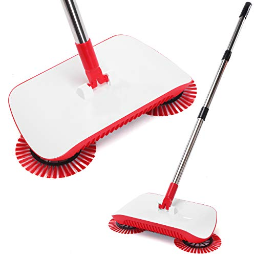 Spinning Cordless 3 in 1 Push-Power Broom | 360 Degree Rotating Cleaning Sweeper Tool | Lightweight, Non-Electric, Safe, Easy to Use | Scrub + Sweep + Dustbin All in One!