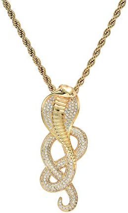 Moca Jewelry Hip Hop Iced Out Cobra Pendent 18K Gold Plated Chain Necklace for Men Women Gold product image