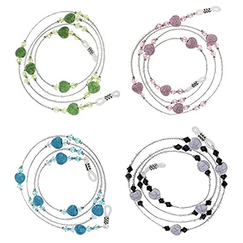 4pcs Cuentas de Gafas de Sol con Cuentas Correa espectáculo cordón para el Cuello Correa Hilo eslabón de la Cadena del sostenedor para la Mujer (Verde/Azul/Negro/Rosa) joyería