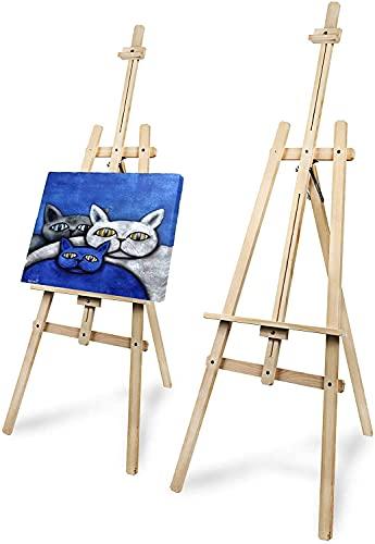 Pagos Staffelei Holz groß aus Tannenholz für Kunstmalerei und Außenwerbung - 168 cm - Geeignet für Leinwände bis 106 cm Höhe - Verstellbare, zerlegte dreibeinige Staffelei - Kinder und Erwachsene