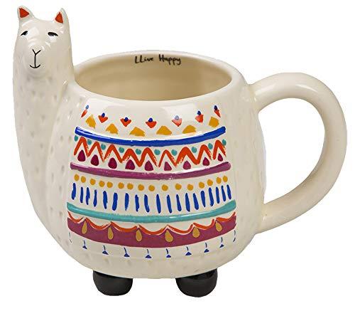 Natural Life Llama Mug - 16 oz, Fun, Cute, 3D Ceramic Llama Mug With Handle for Coffee, Tea, Gifts, Decor