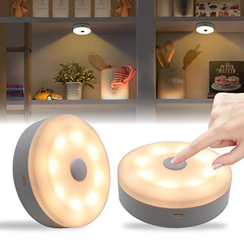 BASON led schrankbeleuchtung, touch lampe schranklicht, led nachtlicht, 1000 mAh wiederaufladbare Batterie, Taste leuchte für Schlafzimmer,Badezimmer, Küche, Schrank, Warmweiß 3000K, 2 Stück
