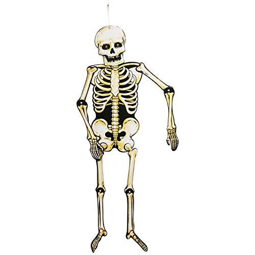 COM-FOUR® 15 pezzi Deco di Halloween in con un grande scheletro, palloncini e ghirlande di feste spaventose come pipistrello, zucca, fantasmi e banner Happy Halloween