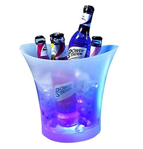 A/N LED Eiskübel 5L Eiseimer Großraum Farbwechsel Kühler Runde Flaschenkühler Glühende Weinkühler Eisbehälter Bar Getränkekühler RGB Champagner Kühler Bier Eimer Sektkühler für Hause,KTV,Party