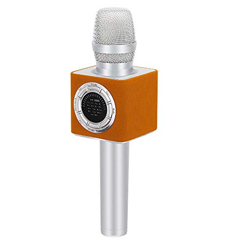 BONAOK 2020 Upgraded Wireless Bluetooth Karaoke Microphone with LED Screen, Portable Rechargeable Mic and Speaker for Kids & Adults for Android/iOS All Smartphones/PC/TV (D17 Orange)