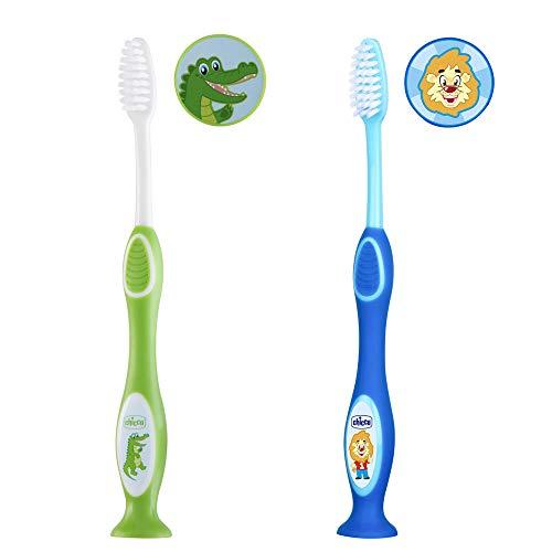 Chicco Oral Care - Cepillo de dientes para niños de 3 a 6 años, con tapa de cerdas y ventosa, 2 unidades