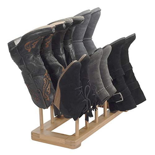 Bamboo Boot Rack Free Standing Shoe Organizer, Holds 6 Pairs, Store Tall Knee-High, Hiking, Riding, Rain or Work Boots in closets, entryways & more