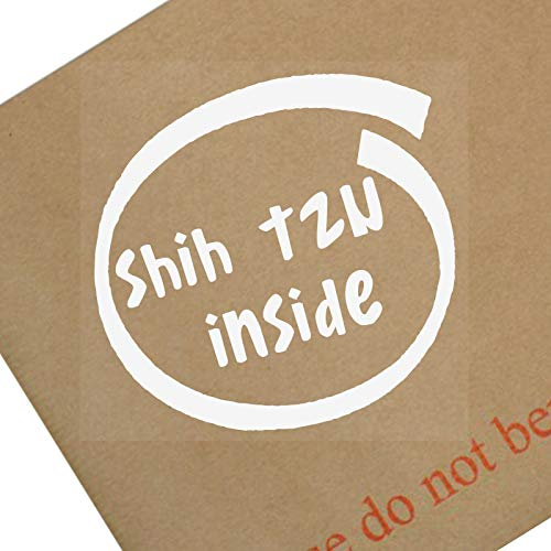 Platina Plaats 1 x Shih Tzu INSIDE-Raam, Auto, Van,Sticker,Teken, Lijm, Hond, Huisdier, On,Board,Lood,Bark,Dak,Puppy, Dier, Primal,Run,Guard,Bescherming,Waarschuwing
