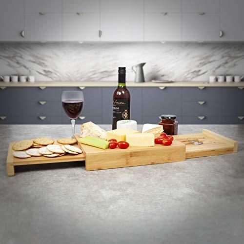 Woodluv - Juego de tablas de queso de madera ovalada/pequeña redonda/cuadrada/rectangular, con cajón integrado y 3 cuchillos para queso, natural, Rectangular(32 x 23 x 5.2 cm)