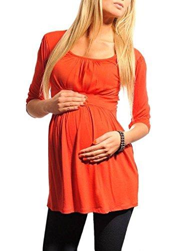 Purpless Damen Umstandstunika U-Ausschnitt Schwangerschaft Top Bluse Umstandsmode 5006 (46, Red)