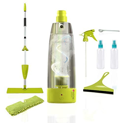 H2O e3 Natural Cleaning Sanitizer Mop System for Home Use, 9 Piece Accessory Kit, House Cleaning Supplies