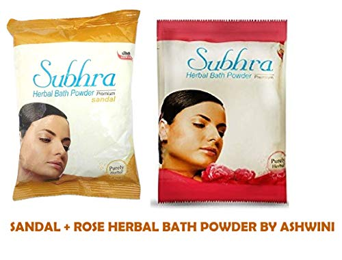 ASWINI SUBHRA HERBAL BATH POWDER PREMIUM SANDAL & ROSE 200gm - Pack Of 2