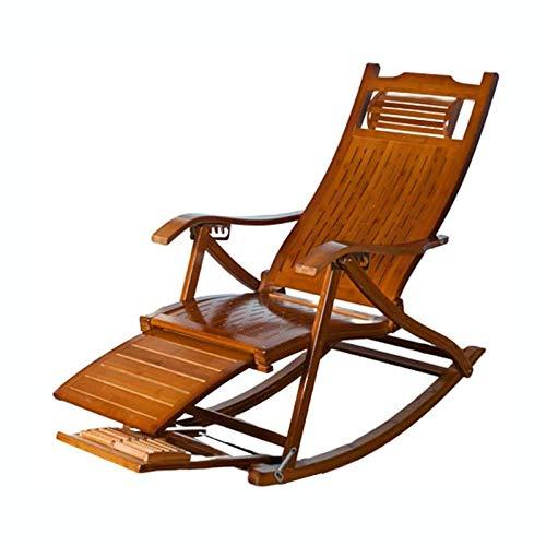 MNBV Silla plegable de bambú mecedora con rodillo telescópico de masaje, plegable ajustable para jardín/camping/ancianos
