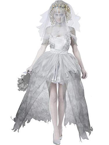 YONIER Disfraces de Fantasma Novia con Velo el Vestido de Liga Cabeza con Capa Larga Vestido de Fiesta Cosplay de Halloween Carnaval Disfraz de Viuda M