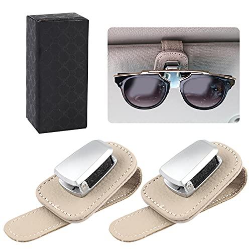 2 Pacchi Porta Occhiali da Auto Clip Universale, Supporti per Occhiali da Sole da Auto, Per Occhiali da Sole da Visiera Per Auto Porta Occhiali In Pelle E Clip Per Biglietti da Visita Supporto Beige