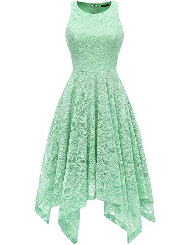 bridesmay Damen Elegant Spitzenkleid Knielang unregelmäßig Zipfel Kleid Cocktailkleid Abendkleider Mint 2XL