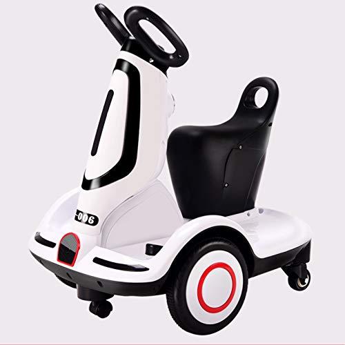 Moto Elétrico para Crianças, Carro Triciclo Criança Com Luzes E Música Rotação De 360 ° Recarregável 2 Anos Brinquedos Infantis Infantil Carros De Bateria,Blanco