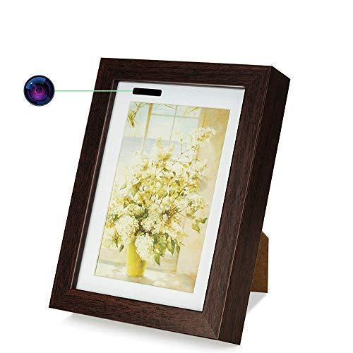 16GB 720P HD WiFi Cámara Espía Grabadora Foto Marco Soporte Vista Remota de Teléfono Inteligente, Grabación Activada por Movimiento, Grabación en Bucle, 24/7 Días Continuos Grabación de Vídeo