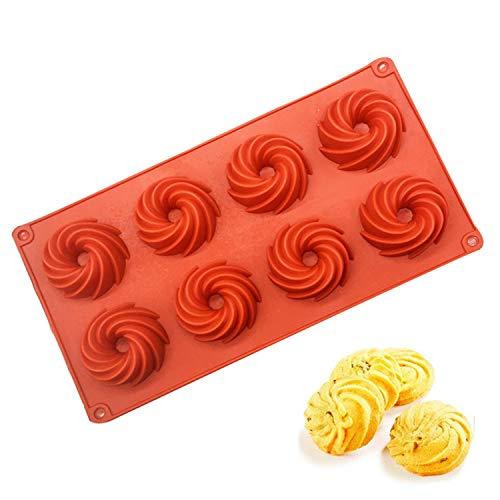SHEANAON 8 Trous Réutilisables Spirale Antiadhésif Bundt Moule pour Muffins Cheesecake Chocolat Dessert et Plus - Kouglof Moulee à pâtisserie pour Anniversaire, Fête, Décoration De Gâteau