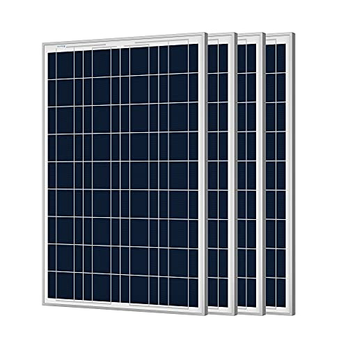 4PCS 100W 12V Polycrystalline Solar Panel with PV Connectors for 12 Volt Battery Charging RV, Boat, Off Grid (4 Pack,Compact Design)