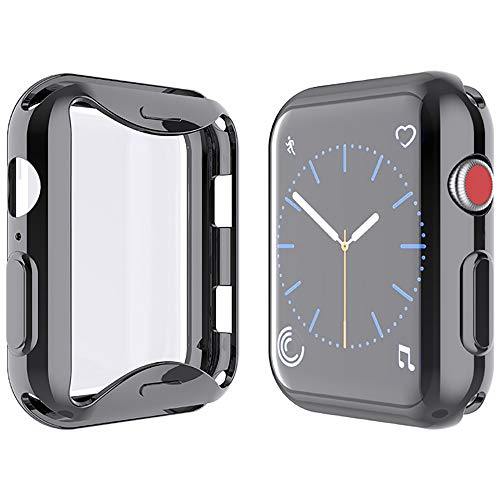 YoLin [2-Pack] All-around TPU Screen Protector Compatible with Apple Watch Series 3 38mm, Soft Protective Case For iwatch 38mm (1 Black + 1 Transparent)