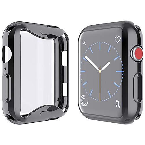 Yolin [2-Stück] All-Around TPU Displayschutz Kompatibel mit Apple Watch Series 3 38mm, Ultradünne Weiche Schutzhülle für iwatch 38mm (1 Schwarz + 1 Transparent)