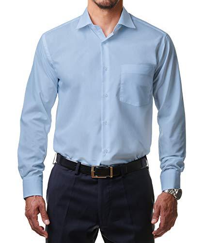 Alessandro Tonelli Alessandro Tonelli Herren Klassik Hemd Business Bügelleicht Freizeit Hochzeit Feier Basic Regular Fit Shirt U03-063, Farbe:Hellblau, Größe:43 / XL