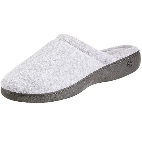 isotoner Women's TerrySlip On Clog Slipper with Memory Foam for Indoor/Outdoor Comfort, Heather Grey Rounded, 8.5-9