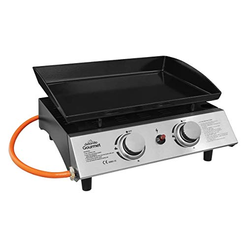 Dellonda 2 Burner Portable Gas Plancha Grill BBQ Griddle with Piezo Ignition, Stainless Steel, 5kW