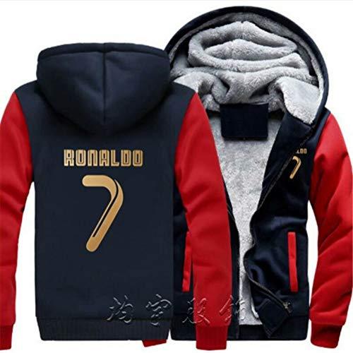 WYNBB Sweatshirt Kapuzenpulli C Ronaldo 7 CR7 Pullover Fleece Fußballverein Fan Hoody Geschenk für Fußballfans Liga Kapitän Herren Frühling Herbst,Red,3XL