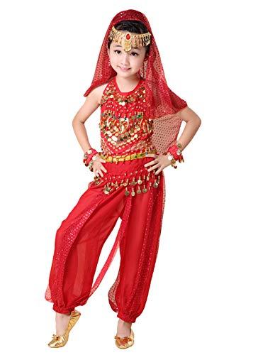 Anikigu Bambina Paillettes Danza del Ventre Costume di Prestazioni Chiffon 7 Pezzi Set per Ragazze Carnevale Halloween Cosplay Costume da Ballo