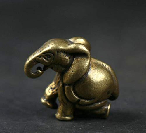 LISAQ Pequeño Chino Fengshui Bronce Adorable Animal Elefante Riqueza Estatua Escultura figuritas decoración del hogar