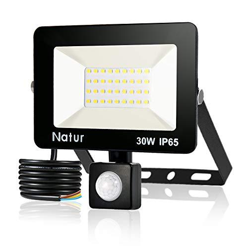 30W 3000LM Foco LED con Sensor de Movimiento Proyector LED para Exteriores 3500K Iluminación Exterior Foco con Detector Blanco Cálido para Patio, Patio de Juegos, Cancha de Baloncesto
