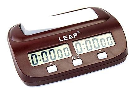 CaLeQi Digital Multifuncional Pantalla Reloj de ajedrez Cuenta hasta Down Temporizador Electrónica Junta Juego Competición Reloj (marrón)