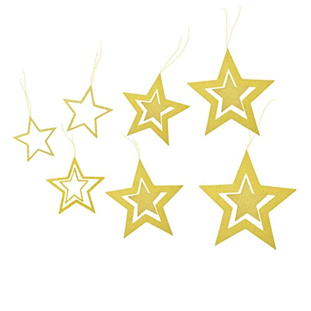 Lacheln Twinkle Twinkle Little Star Hanging Decorations for Baby Shower Birthday Christmas Xmas Party (Glitter Golden 14 Pcs)