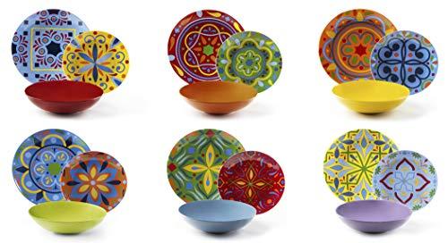 Excelsa Puebla Servizio Piatti 18 Pezzi, Porcellana e Ceramica, Multicolore