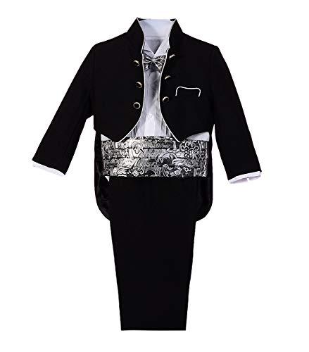 Lito Angels Baby Jungen 5 Teiliges Formale Smoking Anzug Anlass Kleidung Page Boy Anzug Hochzeit Jacquard 18-24 Monate Schwarz