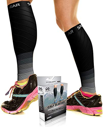 Physix Gear Sport Compression Calf Sleeves for Men & Women 20-30mmhg - Best Footless Compression Socks for Shin Splints, Running, Leg Pain, Nurses & Pregnancy -Increase Circulation - BLK/Gry L/XL