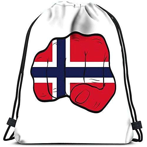 Valender Tunnelzug-Rucksack-Taschen-Sport-Gurt-Norwegen-Flagge auf Kraft-Energie-Protest-Konzept der geballten Faust