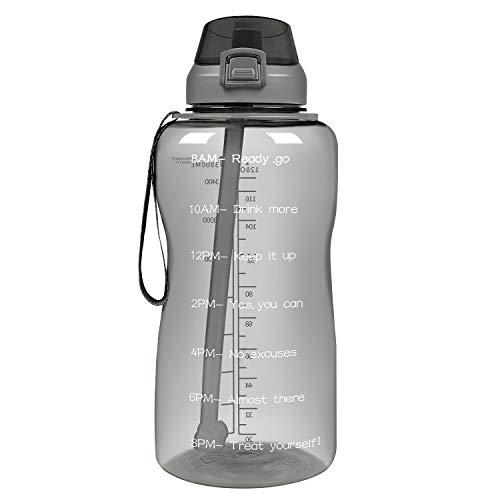 SUJAYU Half Gallon/64oz Large Water Bottle with Time Marker, Motivational Leakproof Tritan BPA Free Water Bottle/Jug for Fitness Gym and Outdoor Sports