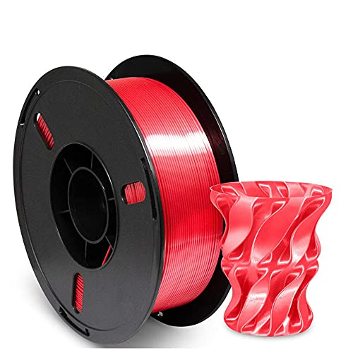 Silk Metal PLA Filament 1.75mm, Silky Metallic 3D Printer Filament PLA, Dimensional Accuracy +/- 0.03mm, 1KG (2.2 LBS) Spool-Silk Bright Red_1.75mm