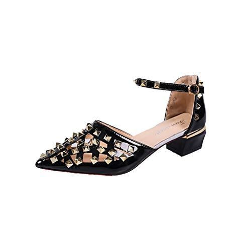 Internet_Moda Verano Mujer Puntiagudas Sandalias/Sandal de Calado Dulce de Tacones Altos, Suave Cuero Ocio Sandalias de Tacones Gruesos/raíces cuadradas, Zapatos de Remaches Puntiagudos/Mocasines (Ropa)