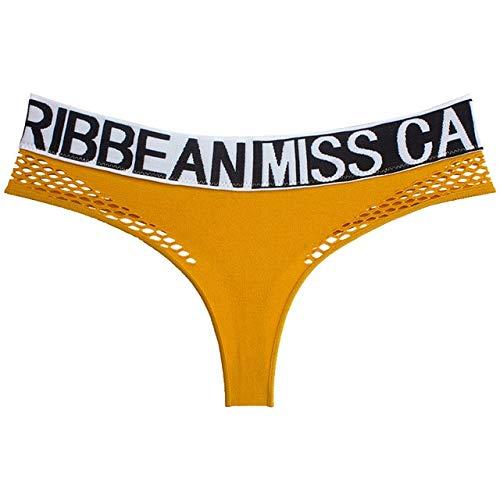 Xiaobing Letras Deportivas Moda Rejilla Hueco Sexy T Espalda Cintura Baja Sexy Tanga Femenina sin Costuras -Yellow-M